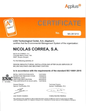 NICOLAS CORREA, S.A. is in accordance with the requirements of the standard ISO 14001:2015